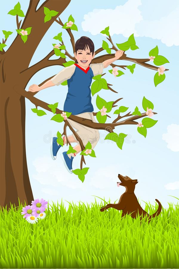 Kid in the tree royalty free stock photography