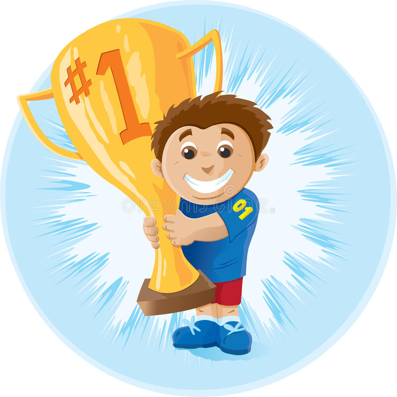 Download Kid with trophy stock vector. Image of first, sport, smiling - 17087041
