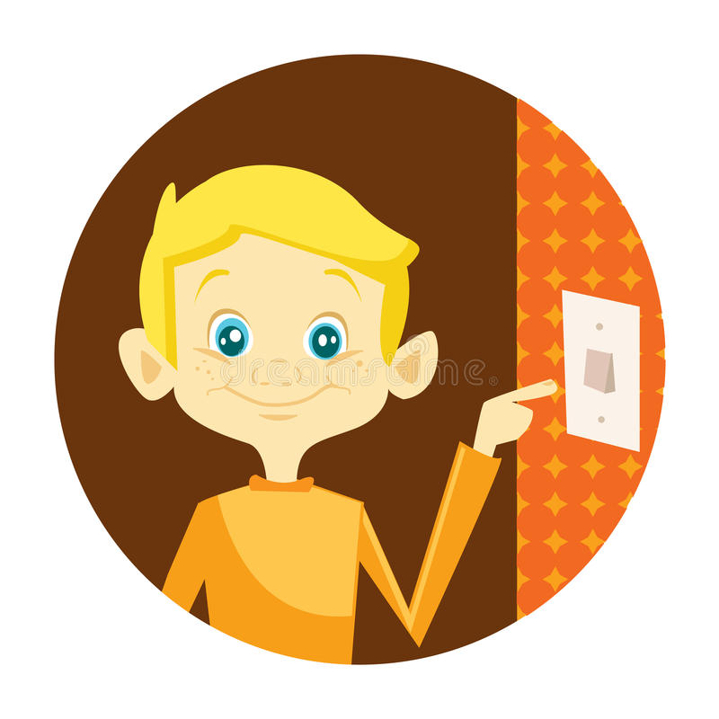 Download Kid turning off the light stock vector. Image of illuminated - 14805928