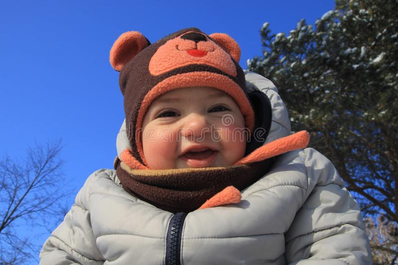 Kid under the sky.  stock image