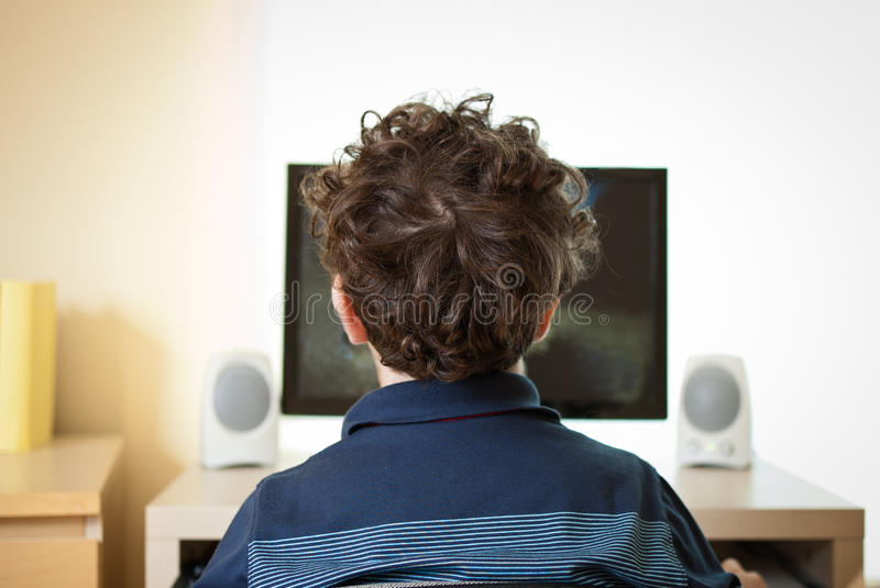 Download Kid using computer stock image. Image of player, childhood - 16425661