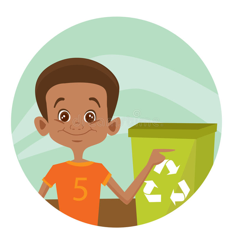 Download Kid using recycling bin stock vector. Illustration of smiling - 14805925