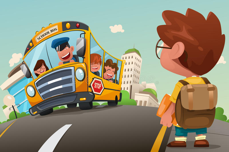 Kid Waiting at a Bus Stop vector illustration
