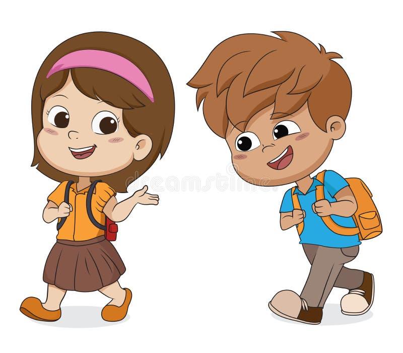 Kid walking to school.back to school. Vector and illustration stock illustration