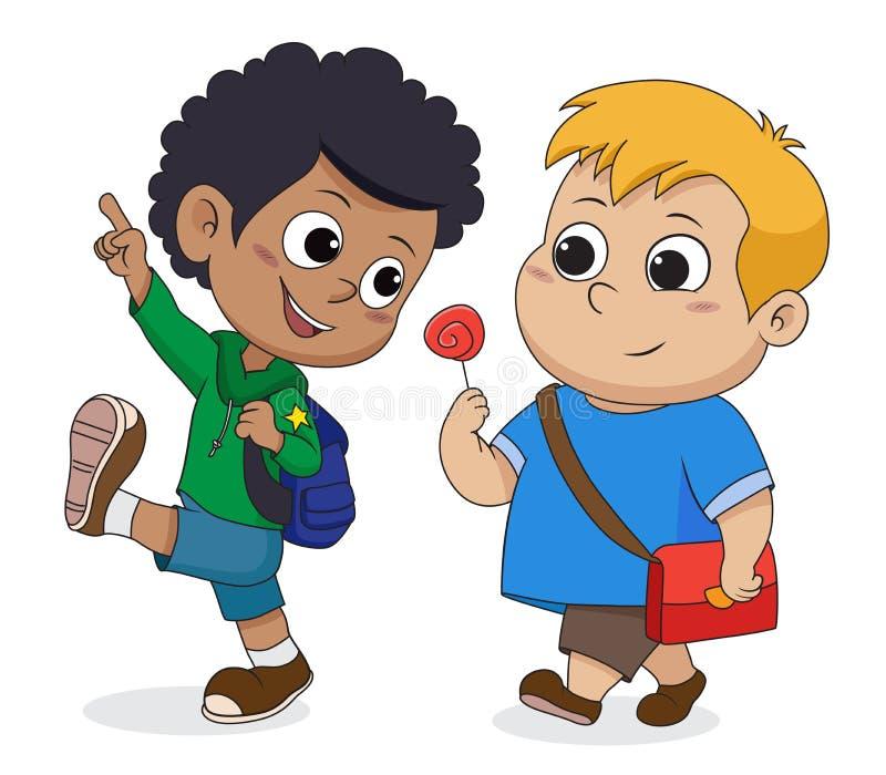 Kid walking to school.back to school. Vector and illustration vector illustration