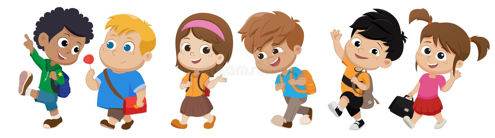 Kid walking to school.back to school. Vector and illustration royalty free illustration
