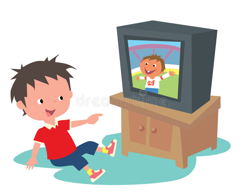 Kid watching TV stock illustration. Illustration of ...