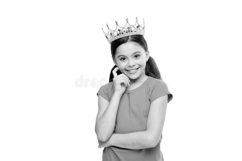 Kid wear golden crown symbol of princess. Dreams and fairy tales. Every girl dreaming to become princess. Lady adorable stock images