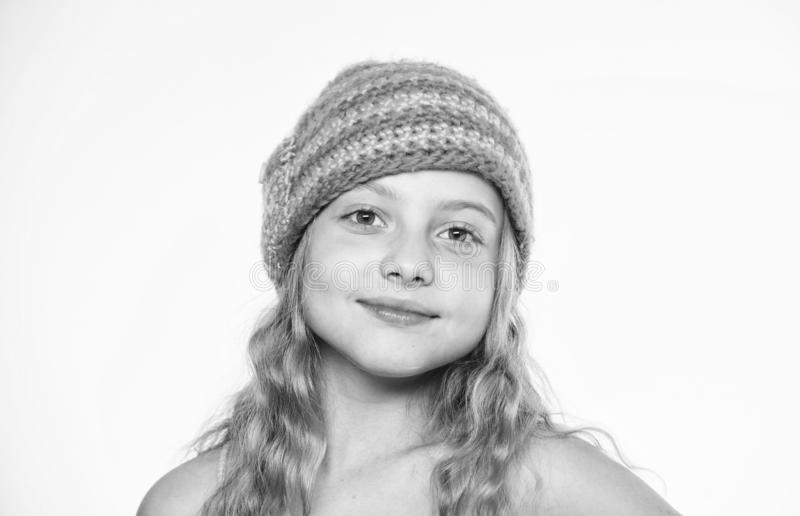 Kid wear warm soft knitted blue hat. Difference between knitting and crochet. Free knitting patterns. Fall winter season. Accessory. Childrens knitted hats royalty free stock images
