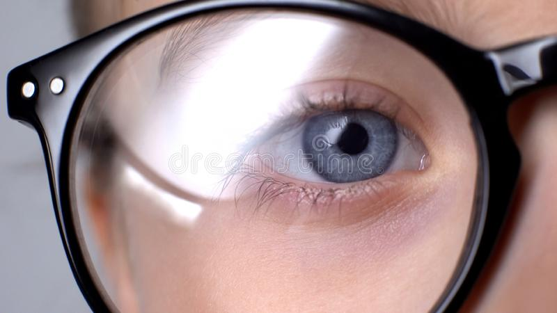 Kid wearing glasses closeup, childhood eye diseases, ophthalmology concept stock photos