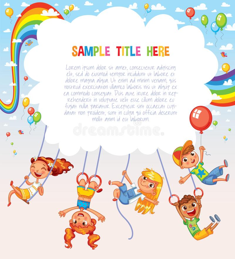 Template is ready for advertising of children`s Entertainment Center or Amusement Park. Kid weighs on the rings upside down. Climbing up along the rope. Swinging vector illustration
