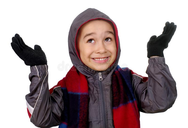 Download Kid In Winter Clothes, Hands Up Stock Image - Image: 18189039