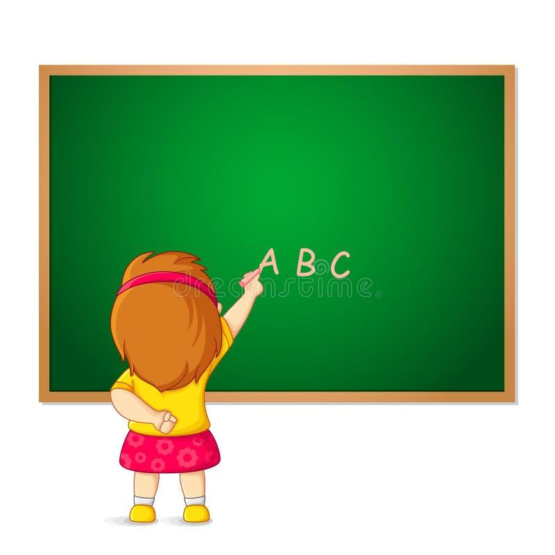 Kid writing on Blackboard royalty free illustration