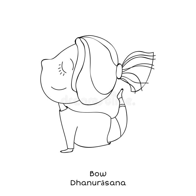 Kid yoga pose. bow stock illustration