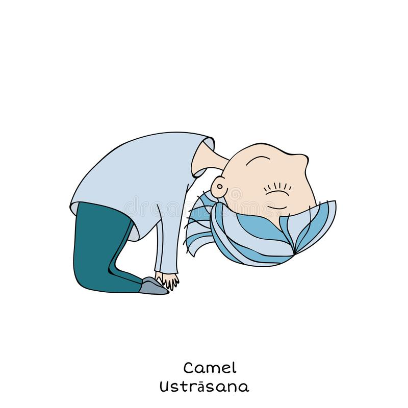 Kid yoga pose. camel vector illustration