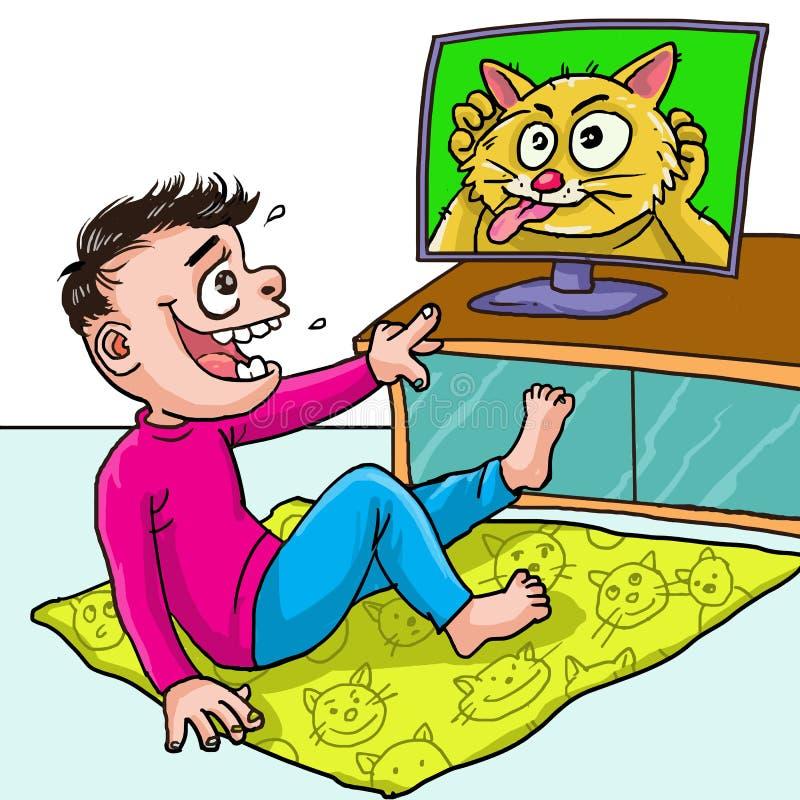 Kid ziet grappige tv-show royalty-vrije illustratie