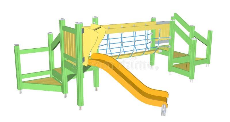 Download Kiddie Slide And Crawling Net, 3D Illustration Stock Illustration - Illustration: 25967129