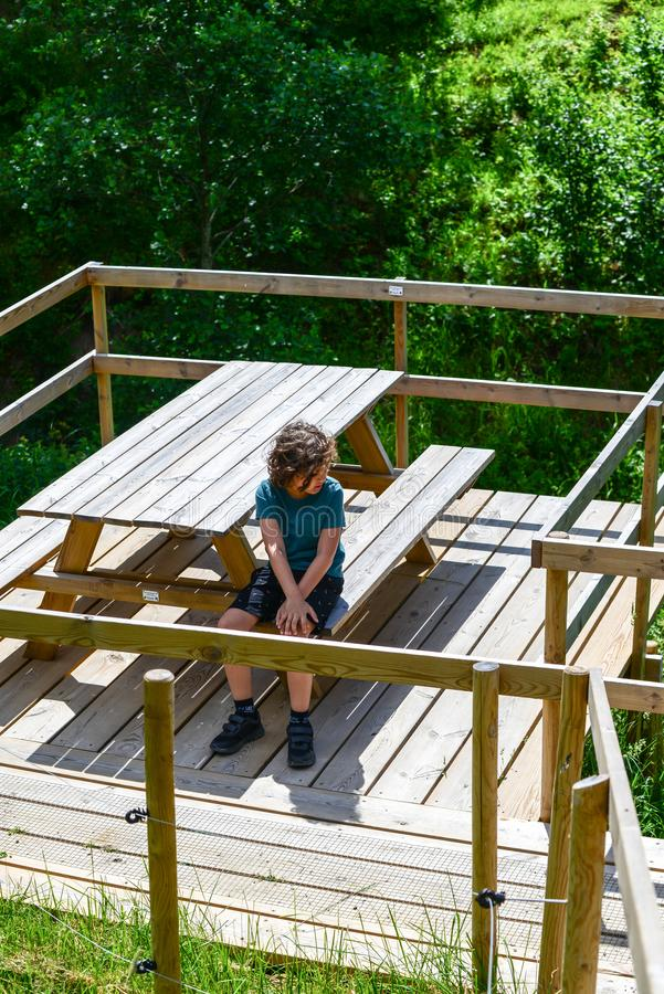 Kide obtém o passeio triste afastado na madeira foto de stock royalty free