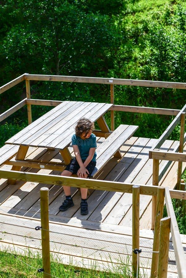 Kide ottiene allontanarsi triste nel legno fotografia stock libera da diritti