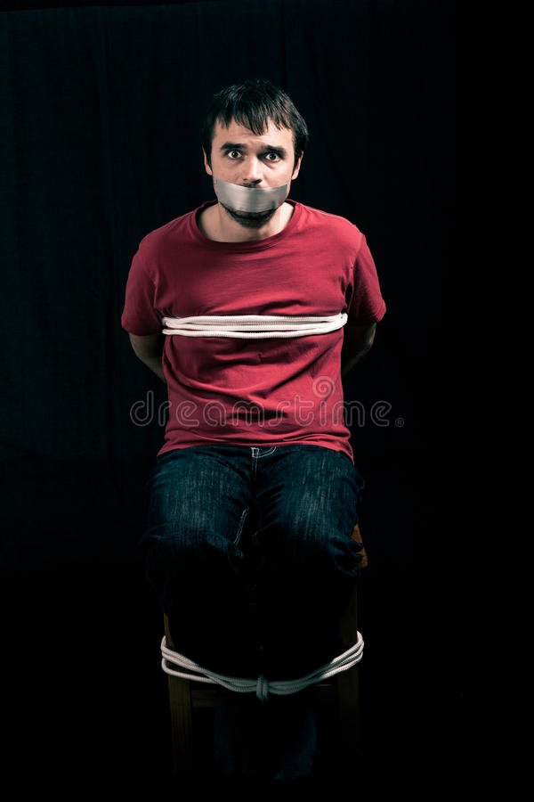 Kidnapped man hostage royalty free stock photo