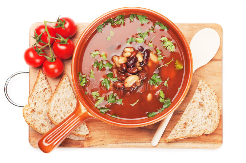 Download Kidney bean soup stock image. Image of bread, isolated - 32869443