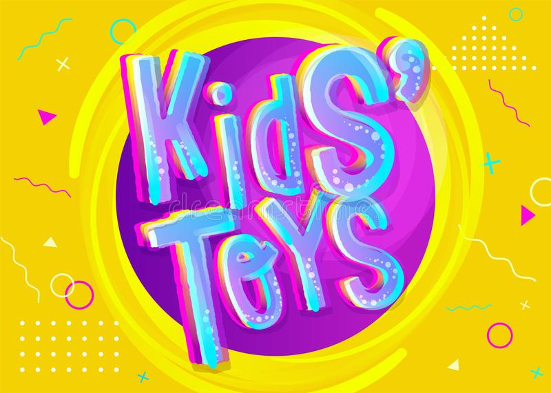 Kids' Toys Vector Illustration in Cartoon Style. Bright and Colorful Banner for Kids Toy Shop or Store. Funny Sign for Game Room. Yellow Background with vector illustration