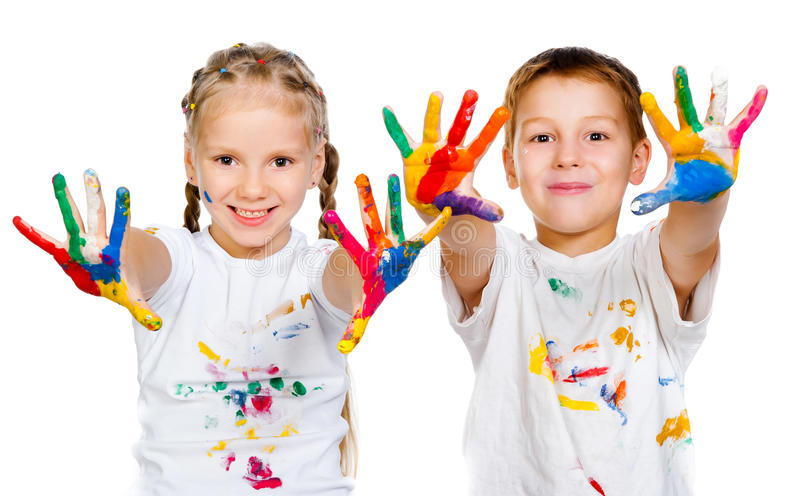 Kids with hands in paint royalty free stock photo