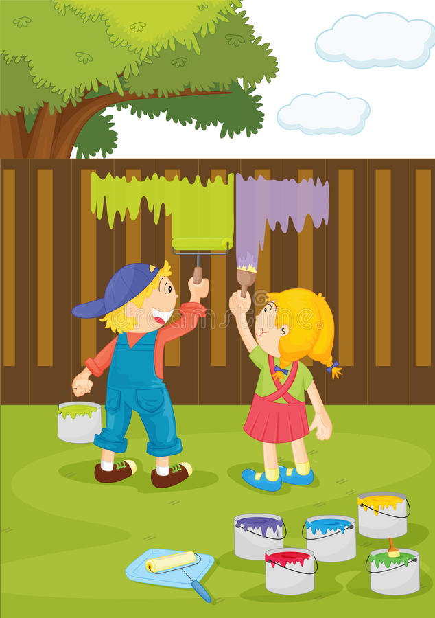 Download Kids stock vector. Illustration of female, colour, fence - 11616075