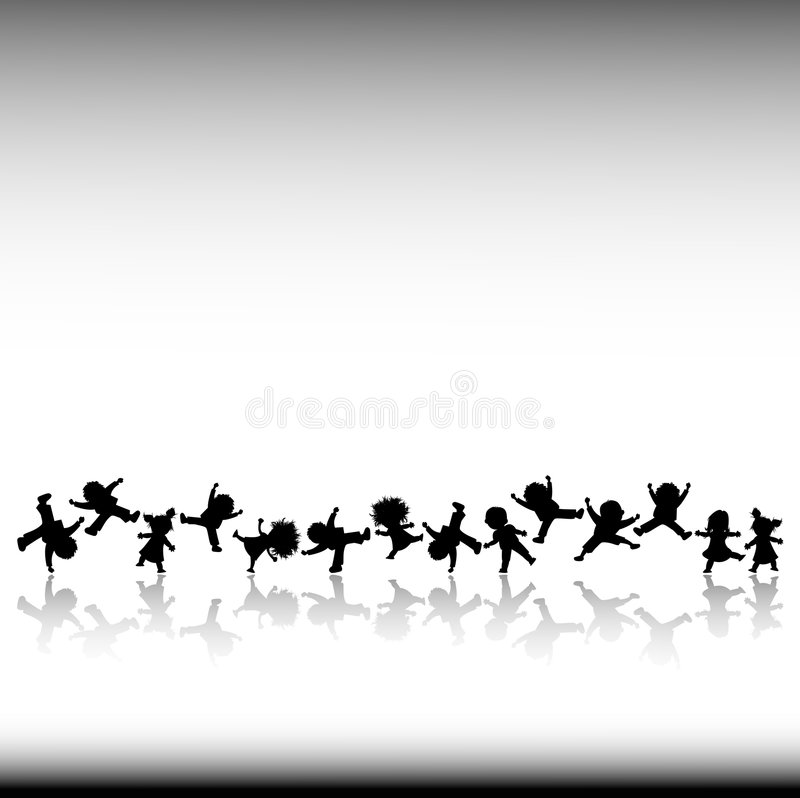Kids. Black and white silhouettes of happy kids vector illustration