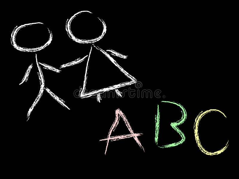 Kids and abc on chalkboard vector illustration