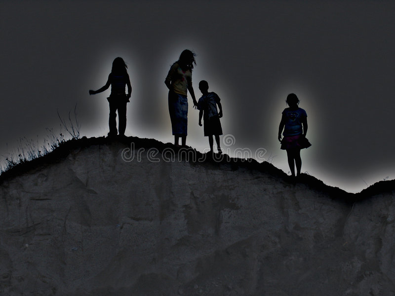 Kids Abstract. Four kids looking over the scary hill. Picture can have many meanings vector illustration