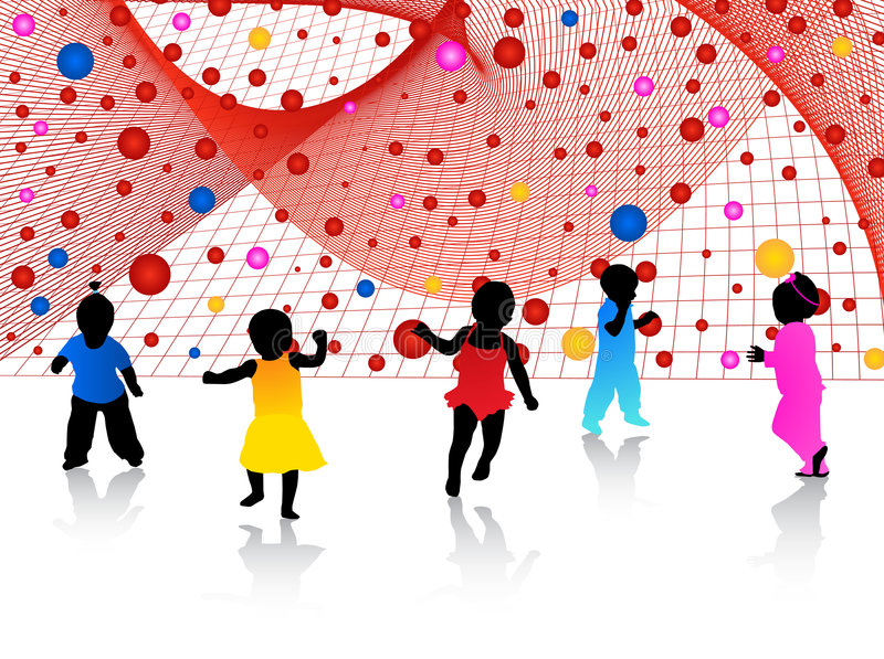 Kids and abstract vector illustration