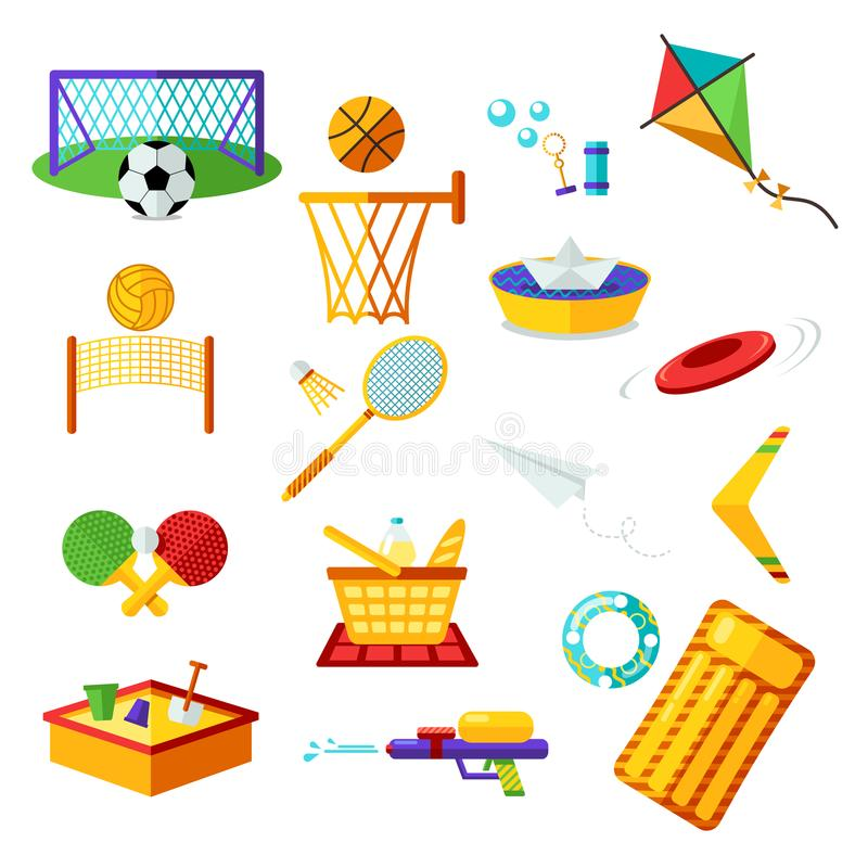 Kids activities. Elements flat collection of summer outdoor recreation and on the beach. Summer holiday activity symbols set. royalty free illustration