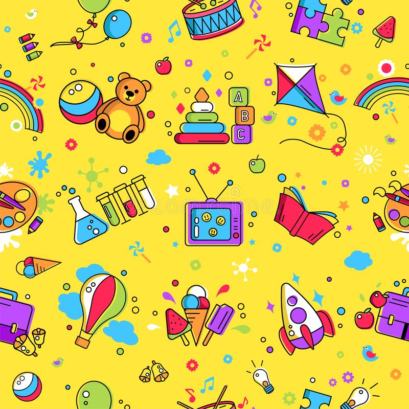 Kids activity pattern, background. Colorful pattern creative idea for children promo playing space. Vector watercolor icon, symbol pattern. Child logo activity royalty free illustration