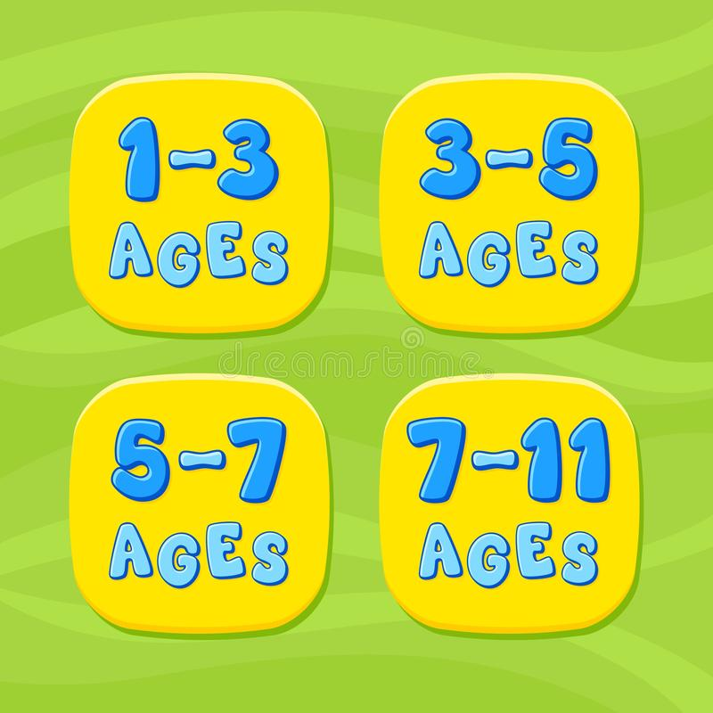 Kids ages. Cartoon vector emblem. Kids emblem royalty free illustration