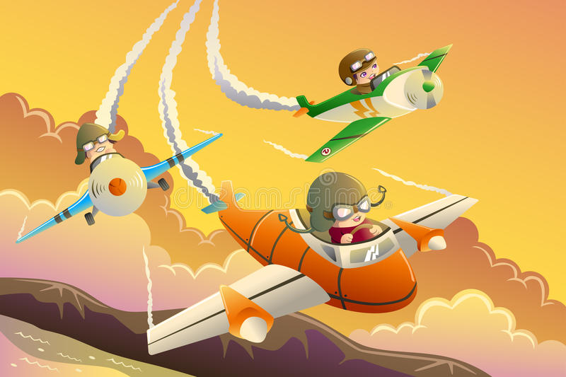 Kids in an airplane race royalty free illustration