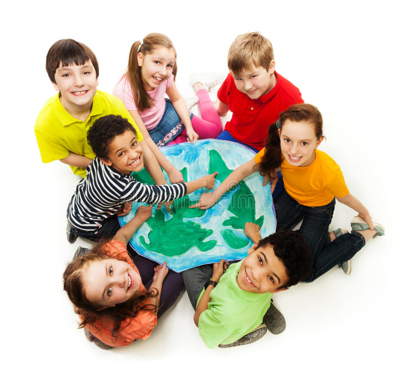 Kids from all over the world stock photo