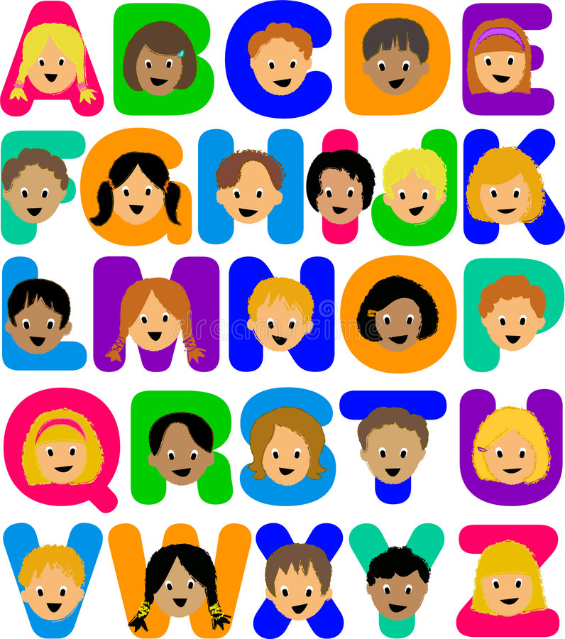 Download Kids Alphabet/ai stock vector. Image of friends, elements - 7100303
