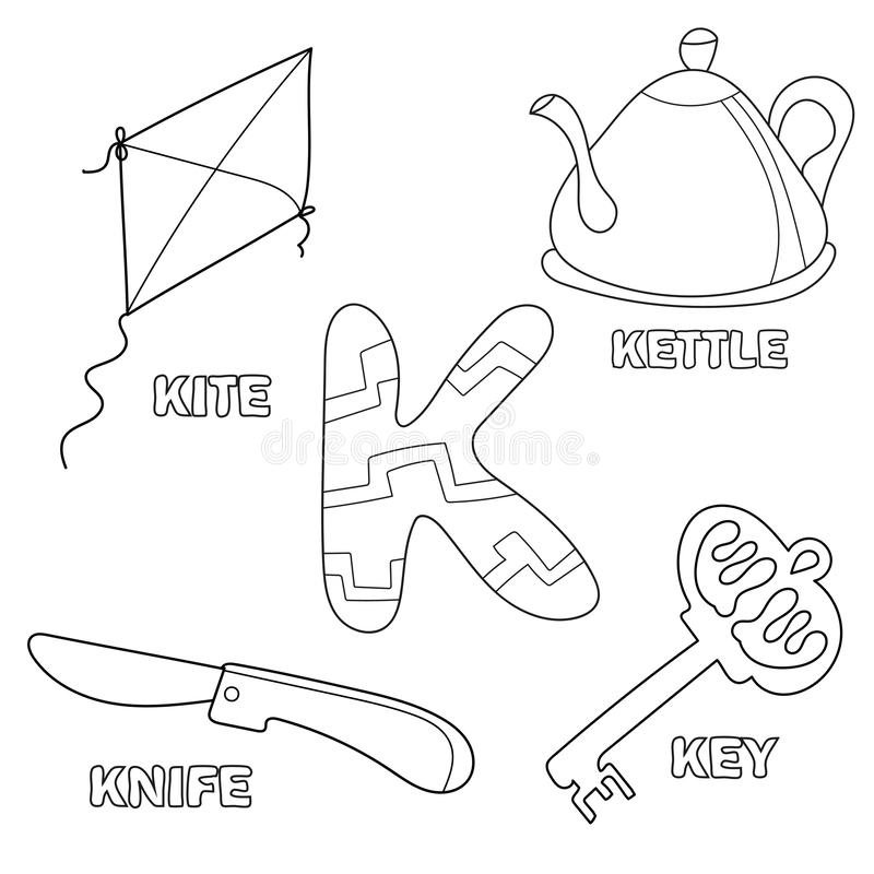 Kids Alphabet Coloring Book Page With Outlined Clip Arts. Letter K ...