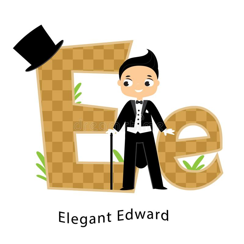 Kids alphabet. English letters with cartoon children characters. E for Elegant Edward fashion boy dressed in tailcoat stock illustration