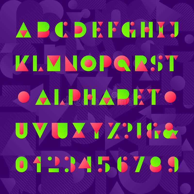 Kids alphabet font. Geometric style funny letters, numbers and symbols. Abstract background. royalty free illustration