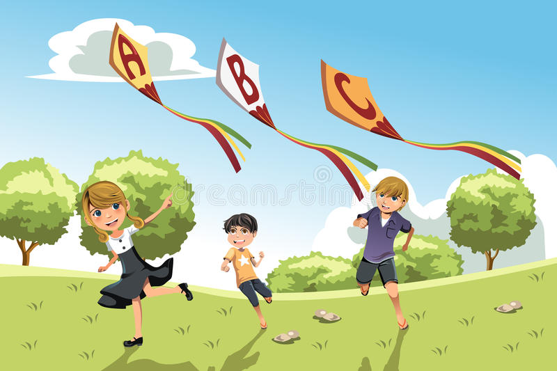Download Kids with alphabet kites stock vector. Illustration of educational - 25596923
