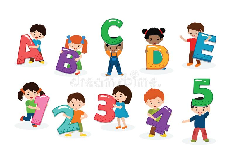 Kids alphabet vector children font and boy or girl character holding alphabetic letter or number illustration. Alphabetically set of cartoon childish lettering royalty free illustration