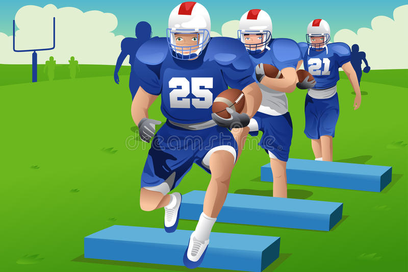Kids in American football practice stock illustration