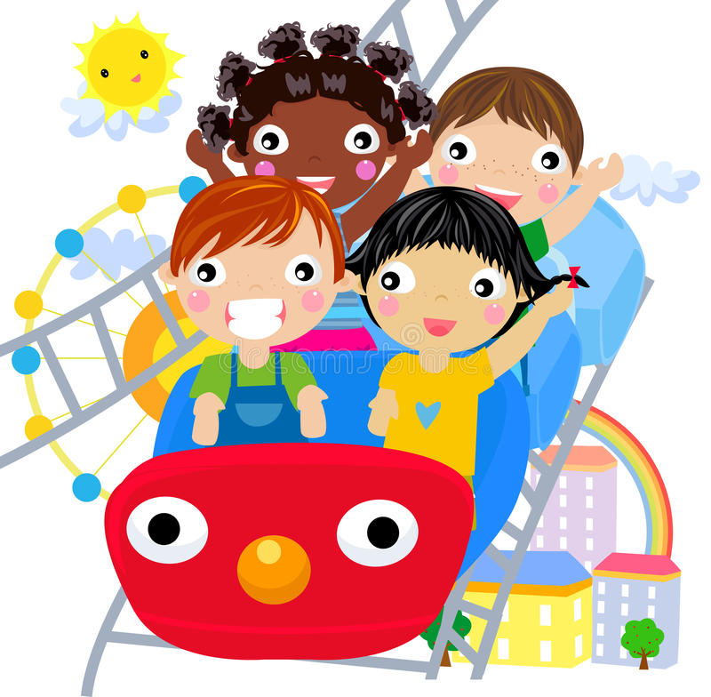 Download Kids at the Amusement Park stock vector. Illustration of youth - 20866909