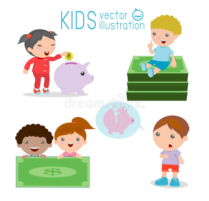 Free Kids And Piggy Bank, Childrens Savings, Illustration Of Isolated Childrens Saving Money On White Background, Royalty Free Stock Photo - 79675065