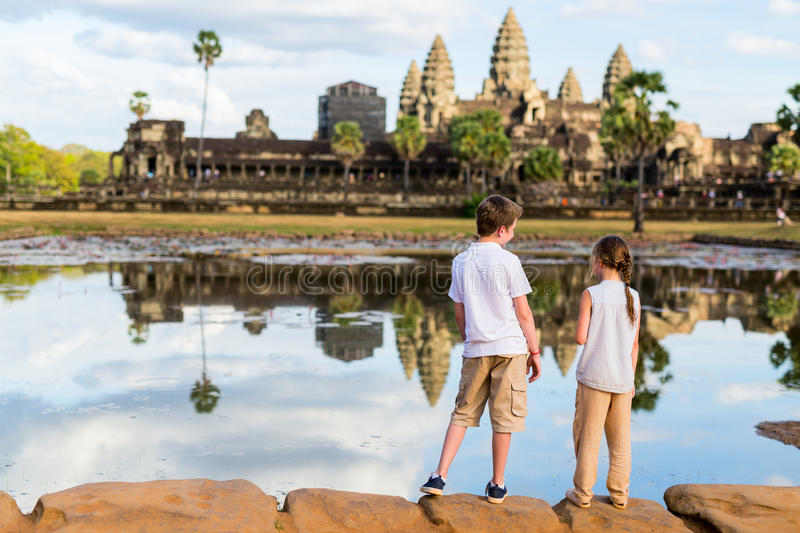 Kids at Angkor Wat temple royalty free stock photos