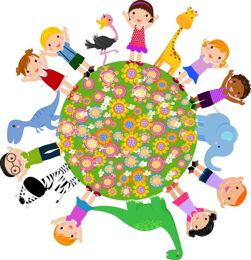 Kids and animal vector illustration
