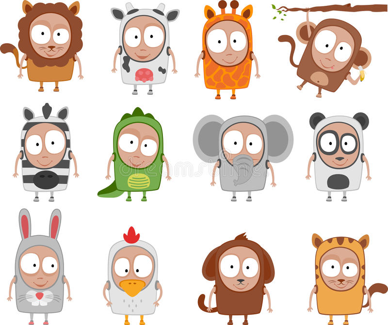 Kids animal costumes. Vector illustration of kids animal costumes - Separate layers for easy editing royalty free illustration