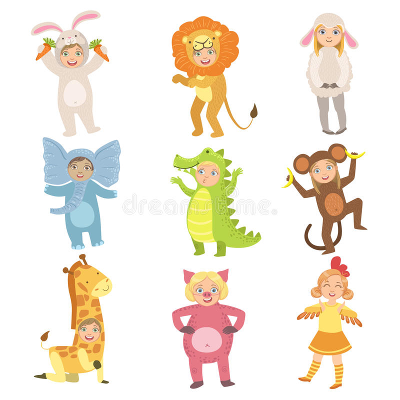 Kids In Animal Costumes Set. Of Simple Design Illustrations In Cute Fun Cartoon Style Isolated On White Background vector illustration